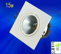 4 pçs/lote 15 w Recesso Levou Downlight Quadrado Regulável Cob Led Spot Light Lâmpada Do Teto Decoração Ac 110 v 220 v
