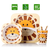 5pcs/lot Kids tableware set Bamboo dish With bowl,cup,spoon,fork Animal Children's dinnerware As a gift Safe Plates for Children