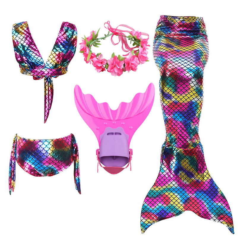 Spirited 5pcs Girls Swimming Mermaid Tails With Monofin Costume Cosplay Children Mermaid Swimsuit Bikini Set Bathing Wear Beach Swimming Curing Cough And Facilitating Expectoration And Relieving Hoarseness Mother & Kids