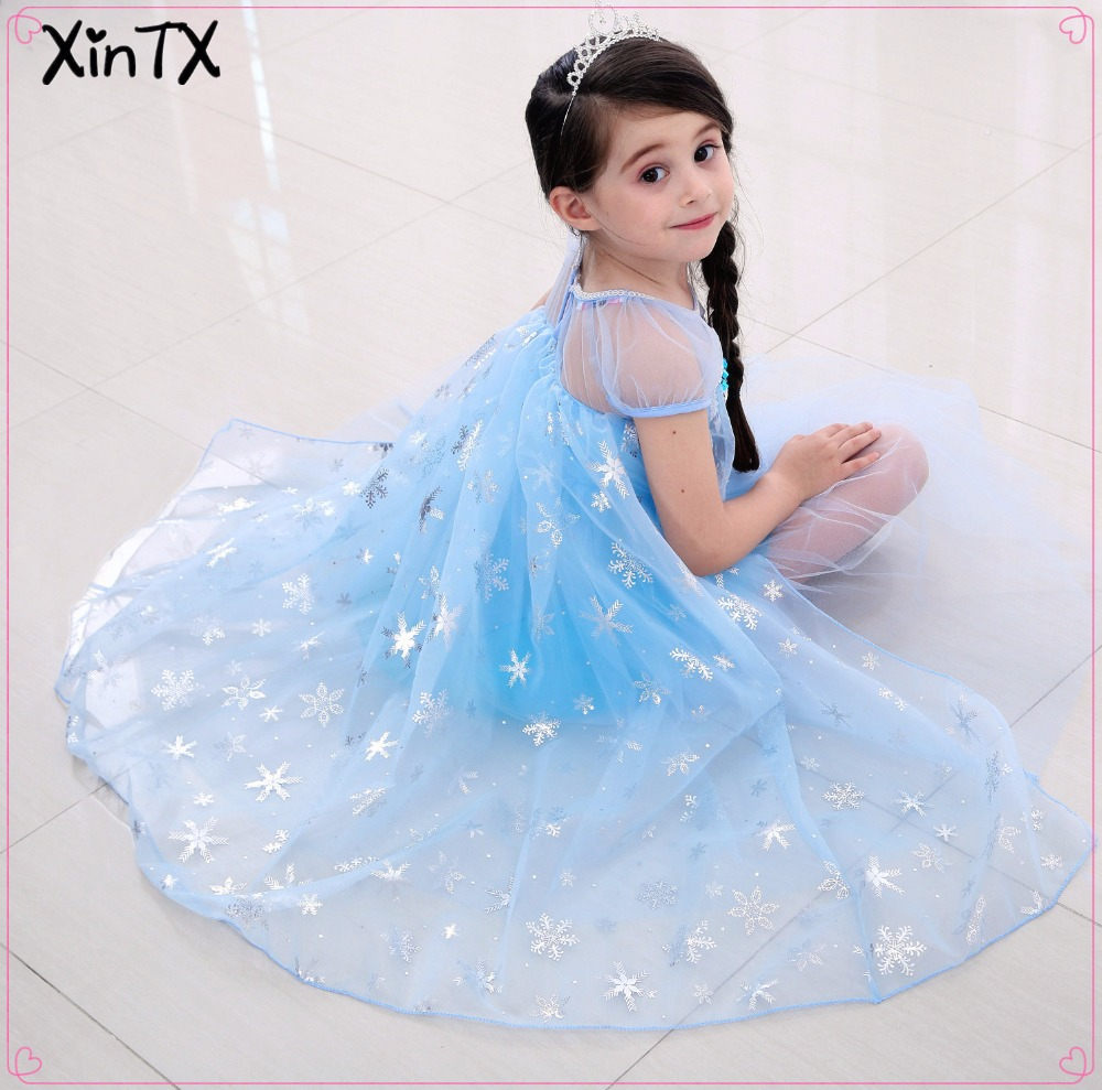 2018 NEW Girls Elsa Costume Dress Cosplay with Wig Crown Wand Wig for Kids Children Princess Elsa Dress Party Dresses