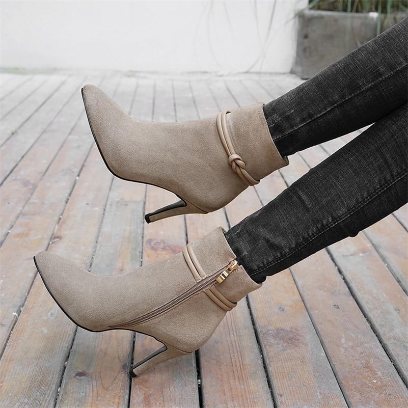 Chaussures Nouvelle Qualité Cheville noir Femmes Bureau Bottes Pointu Hauts Daim Martin Talons Carrière Femme Zipper Beige Arrivée Vache Conasco En Bout 7TRWqddx
