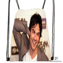 Custom Ian Somerhalder Drawstring Backpack Bag Cute Daypack Kids Satchel (Black Back) 31x40cm#20180611-02-82