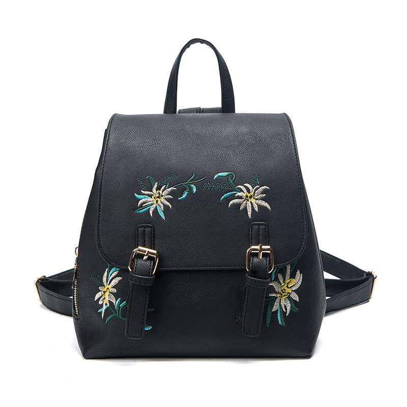 eTya Fashion Floral Bags for Women Leather Backpack Embroidery School Bag for Teenage Girls Ladies Bagpack Small Backpacks ...