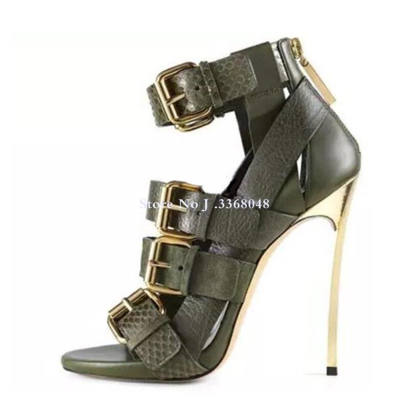 Chaussures femme en cuir véritable boucle cheville Peep Toe sandales femmes lame talon arrière fermeture éclair découpé gladiateur bottes sandale pour femmes - 3