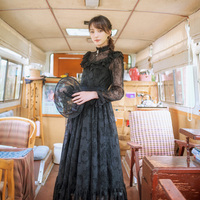 Custom Made Women Autumn Winter Vintage Gothic Palace Style Mulberry Silk Embroidery Mesh French Lace Patchwork Black Long Dress
