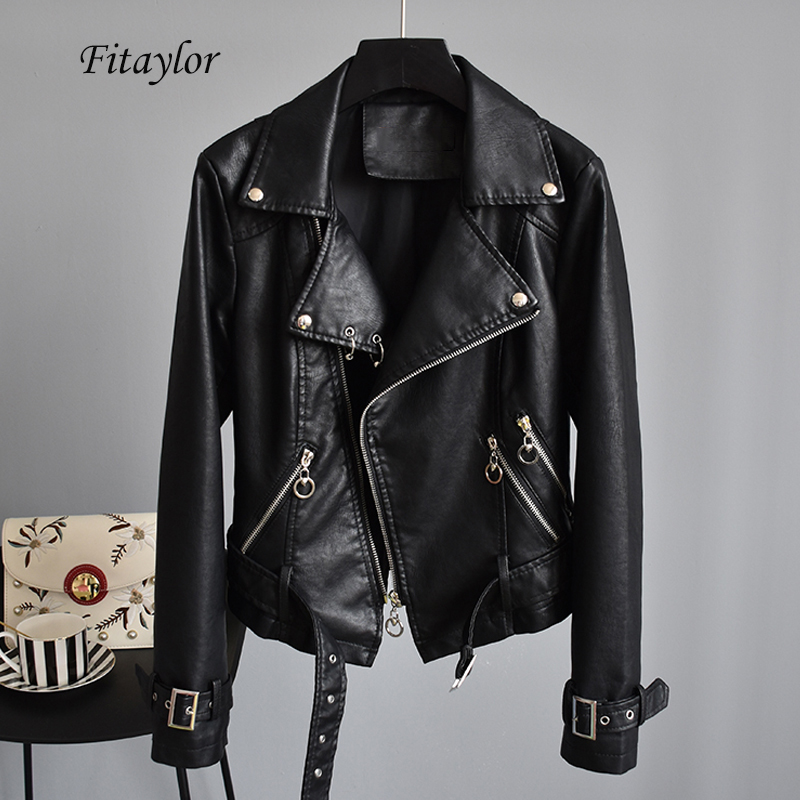 Fitaylor Autumn Faux Soft   Leather   Motorcycle Pu Short Women Jacket Coats Biker Turn-down Collar Rivet Zipper Pink Black Overcoat