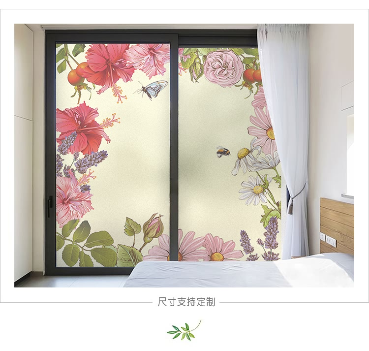 Custom Fresh Self Adhesive Flowers Window Film Windows