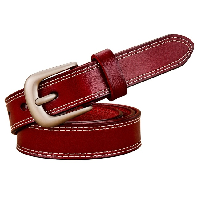 New 2017 Fashion top quality female belt genuine leather belts for women 2.3CM width thin strap second layer cowskin waistband