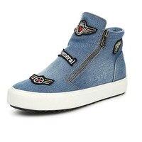 2016 New Women S Casual Shoes Women Fashion Flat Canvas Shoes Denim Students Zipper Shoes 35