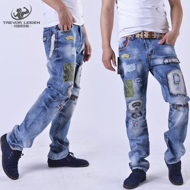 Jeans Slim Hole Popular 2016 Patch Style Patch Beggars Homme New wOCaq8