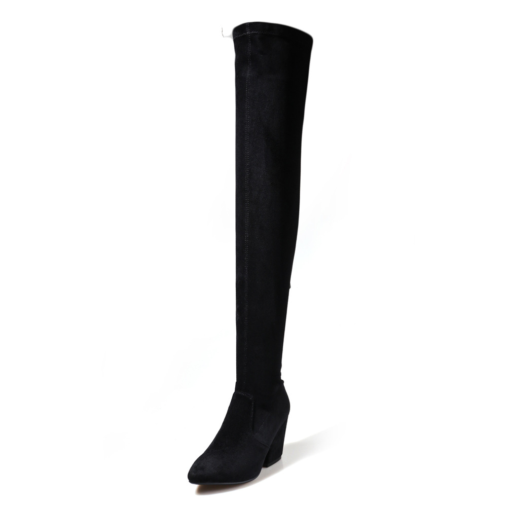 Women Sexy Over Knee Boots Suede Leather Chunky Crotch Block High Heel Thigh High Boot Female Stretch Slim Pointed Toe Shoes купить