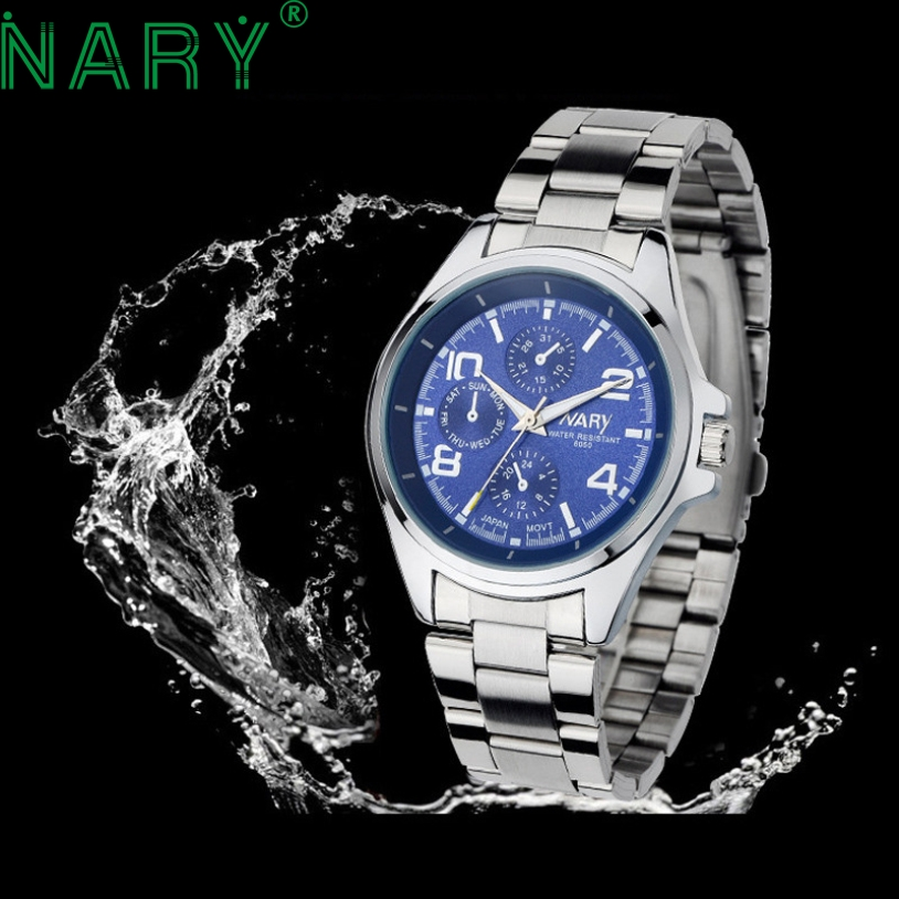 Essential NARY Wristwatch Bangle Bracelet Luxury Men Stainless Steel Classical Quartz Analog Wrist Watch Gift 17Tue27 2017 men s fashion pure color fine casual jeans men high quality slim leisure jeans male blue black pencil pants jeans pants