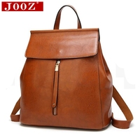 JOOZ Simple Designer Women Backpacks Solid Vintage Girls Book Bags for School Backpack brown quality Leather Women Backpack