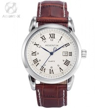 AGENTX Brand Watch Roman & Arabic Numerals Silver White Date Quartz Men's Gents Gift Brown Leather Band Wrist Watches / AGX133