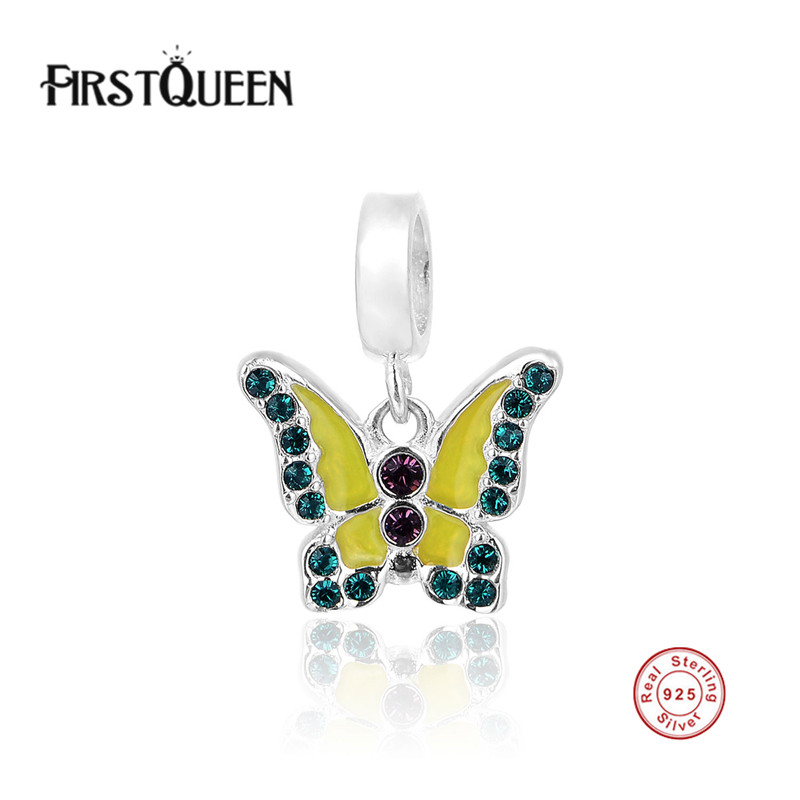 FirstQueen Solid 925 Sterling Silver Butterfly Charm Fit Original Bracelet DIY Beads For Jewelry Making