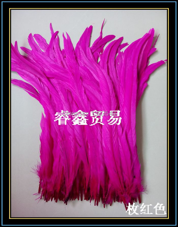 Wholesale! 100pcs natural rooster tail hair rose red 30-35 cm / 12 - 14 inches
