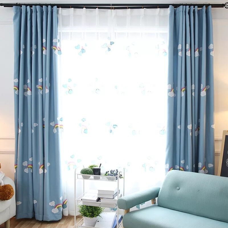 Unique XYZLS Korean Style Cartoon Rainbow Curtains for Kids Room Blue Embroidered Blackout Curtains for Children Bedroom Window Drapes in Curtains from Home Picture - Inspirational blue bedroom curtains Awesome