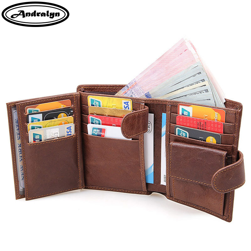 Andralyn Men Wallets Genuine Leather Men Wallet Male Clutch Coin Purse Big Capacity Vintage Short Purse with Coin Pocket plaid men short wallet knitting patchwork leather male coin purse pocket pouch carteira student clutch wallet for teenager