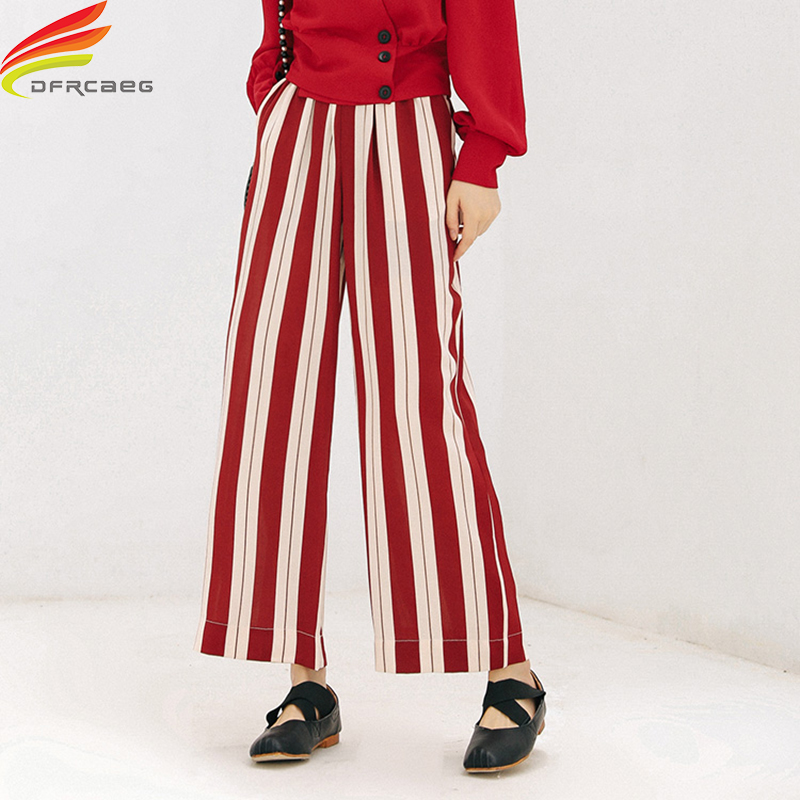High Waist   Pants   Women 2018 Autumn Street Style Red White Striped Loose   Wide     Leg     Pants   Elastic Waist Pockets Streetwear Trousers
