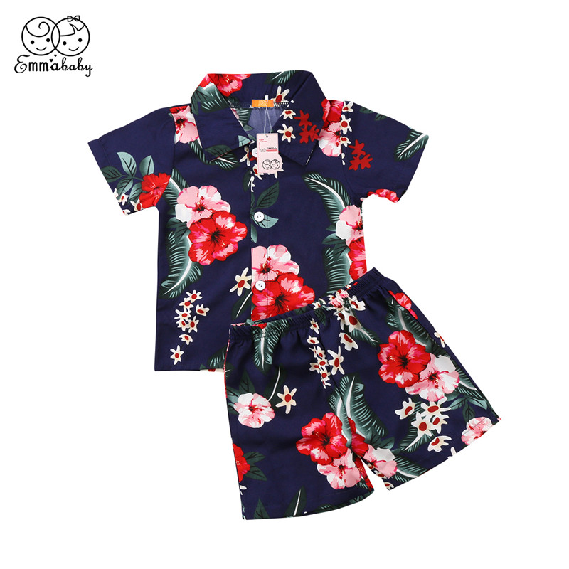 Summer Children Tracksuit 2018 Cool Kid Boys Clothes Set Short Sleeve Floral T-shirt+Short Pants 2pcs Baby Boy Beach Clothes Set 2pcs children outfit clothes kids baby girl off shoulder cotton ruffled sleeve tops striped t shirt blue denim jeans sunsuit set