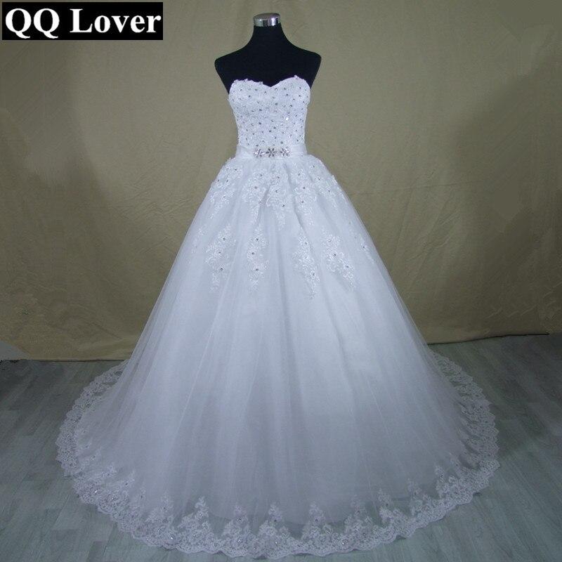 QQ Lover 2017 Vestido De Noiva Princess Tube Top Beading