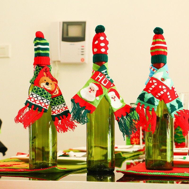 Kerst Wijnfles Cover Huishoudelijke Tafel Party Decor Wrap Hoed Top Sjaal Gift Online Korting