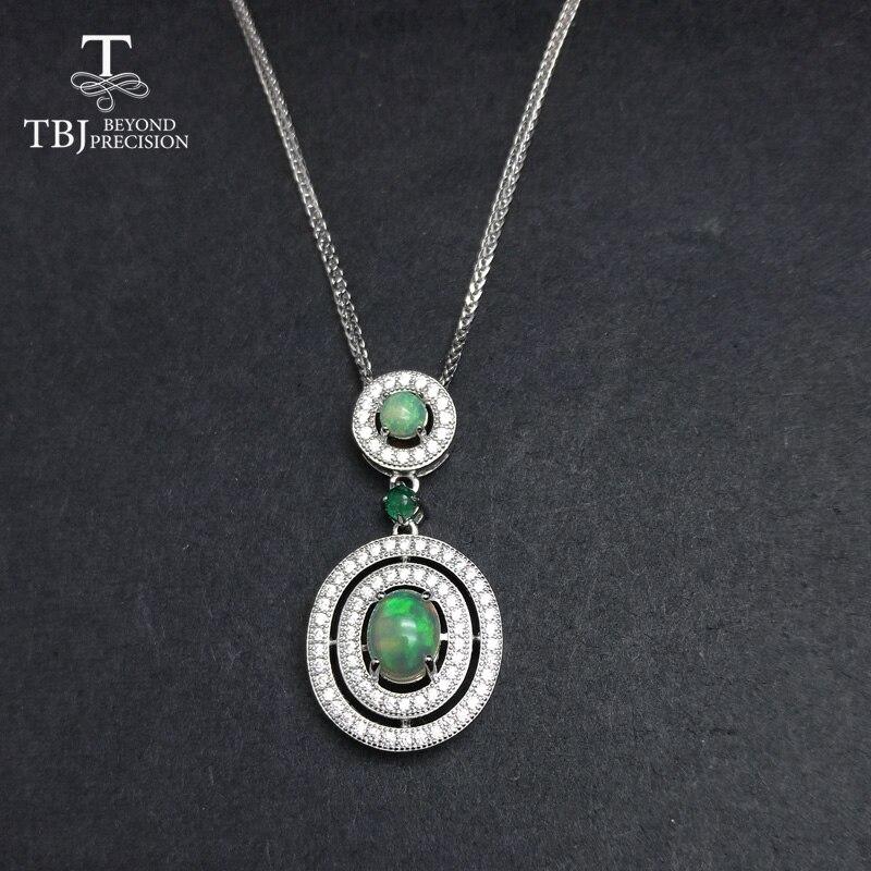 TBJ, 100% pendentif en opale naturelle et émeraude avec chaînes en argent sterling 925, bijoux fins pour femmes cadeau avec boîte