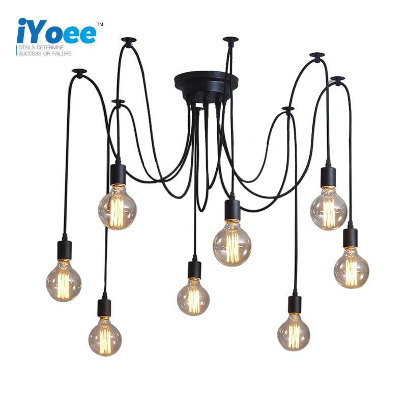 Modern Retro Edison Bulb E27 Vintage lamps Antique DIY Art Spider Pendant Lights 2 meters Line Home Lighting suspension Vintage