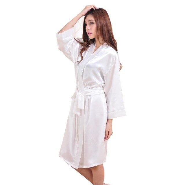 White Hot Sale Summer Silk Chiffon Robe New Style Women's Kimono Bath Gown Lounge Nightgown Sexy Sleepwear One Size ZS036