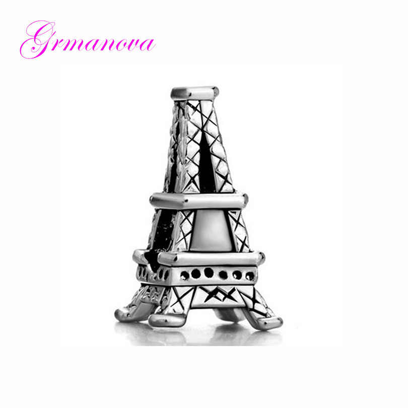 Paris Eiffel Tower tourist exquisite big hole charm beads female classic pop amulet Fit Pandora Bracelet Women's DIY Jewelry