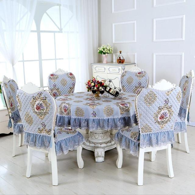 SunnyRain 7 Piece Lace Luxury Round Table Cloth Set Tablecloth Chair Cover  For Dining Room
