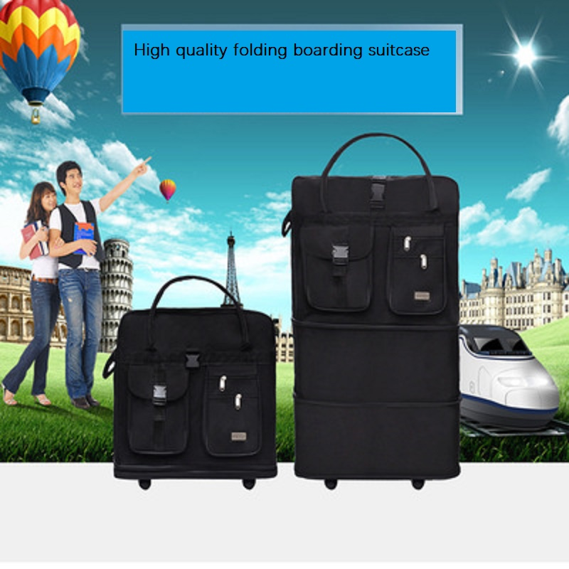 Waterproof Foldable Outdoor Travel Large Volume Foldable Oxford Rolling Luggage Light Boarding Suitcase