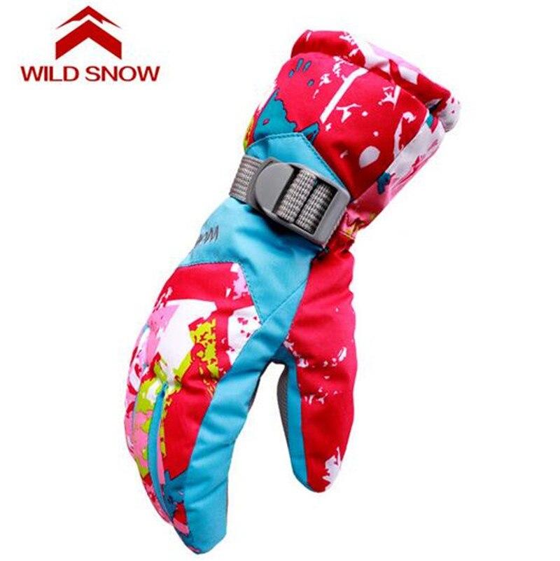 WILD SNOW Women Print Winter Professional Snowboarding Skiing Warm Windproof Waterproof Snow Full Gloves L Size