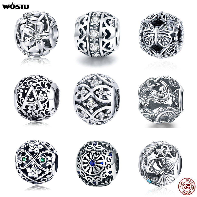 WOSTU Hot Sale Style 100% 925 Sterling Silver Vintage Openwork Beads Fit Original Charm Bracelet Fashion DIY Jewelry Making