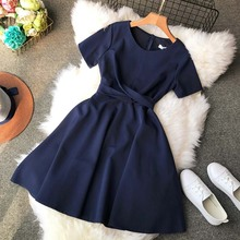 Vintage A-line Solid Short Bow Above Knee Mini Regular Natural O-neck Summer  Dress Women Vestidos Vestido Summer Dresses kids girls summer dress red yellow solid color o neck flowers pattern a line knee length regular sleeveless girl dresses 5ds274