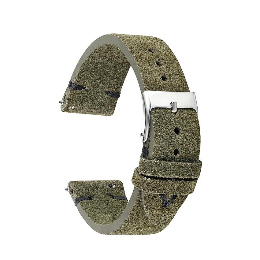 High Quality Watch Band Strap Watchband Genuine Suede Leather Men Women 18mm 20mm 22mm Strap Watch Belt Accessories Green KZSD07