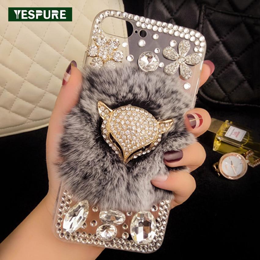 YESPURE Fancy Fox Fur Kryt telefonu pro iPhone 6 6s Luxusní ženy Crystal Transparentní Capa Antigravity Diamond Telefonní Příslušenství