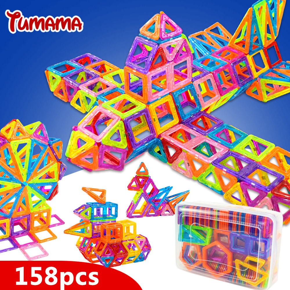TUMAMA Mini 158pcs Magnetic Blocks Toys Construction Model Magnetic Building Blocks Designer Kids Educational Toys For Children mtele brand 62 pcs pcs magnetic tiles designer construction kids educational toys creative bricks enlighten toy