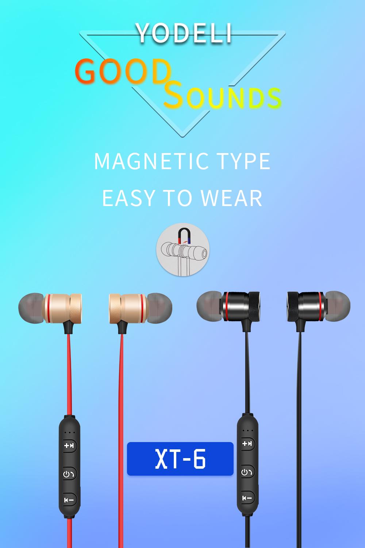 YODELI V4.1 Bluetooth Headset Metal Magnetic Wireless Stereo Earphone Headphones with Mic Sports Earphone Earbud for Sweatproof (9)