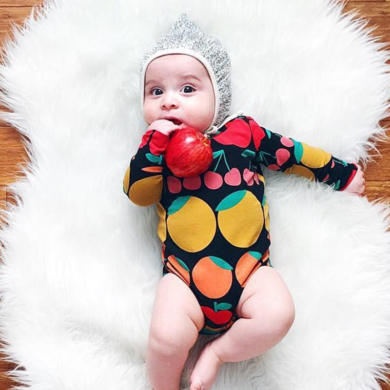 TinyPeople Fruit Cute Print Baby Bodysuit Cotton Long Sleeve Spring Newborn Baby Boys Onesie Girls Jumpsuit Infant Bebe Clothing