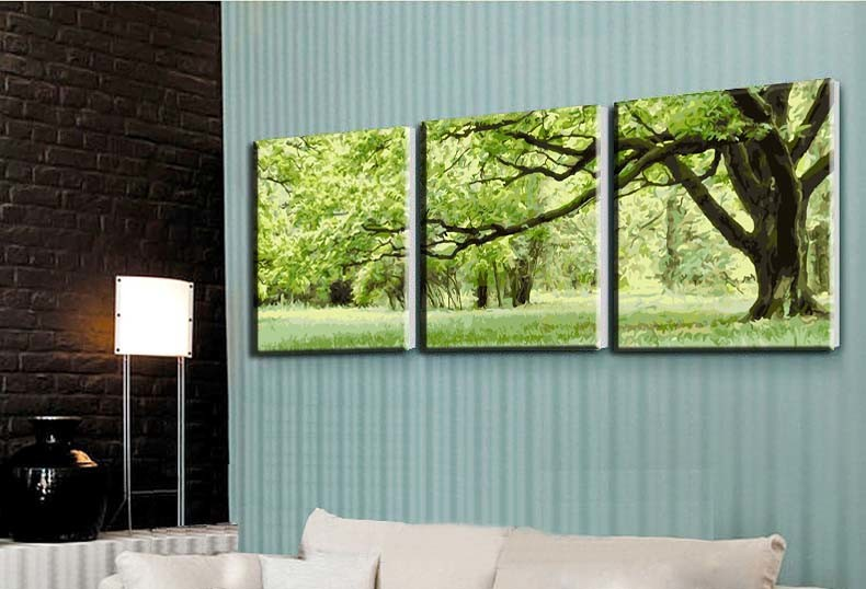 3 plošče Brez okvirja slike na platnu diy digitalno oljno slikanje - Dekor za dom - Fotografija 2