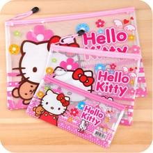 3 unids / set Hello kitty Office Cosmetic Make Up Bolso del bolso de la caja del bolso de las bolsas de archivos lindo caso de lápices papelería impermeable C