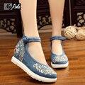 Летняя мода Китайский стиль женской обуви насосы вышивка Хлопок белье повседневная обувь платформы женщин высокие каблуки sapato feminino