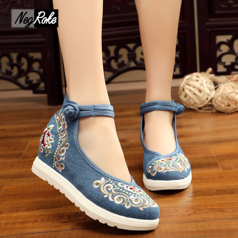 ФОТО summer fashion Chinese style shoes women pumps embroidery Cotton linen casual platform shoes women high heels sapato feminino