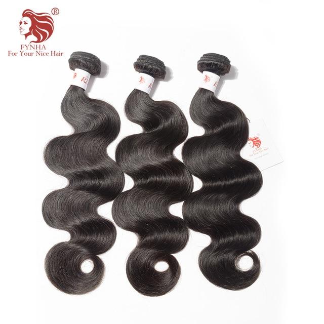 Fynha Brazilian Body Wave Wefts Natural Black Wavy Remy Human Hair