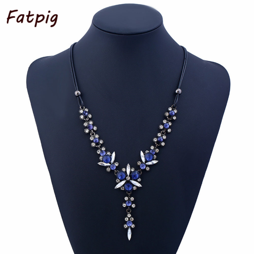 Women navy blue crystal beads long sweater chain necklace women navy blue crystal beads long sweater chain necklace accessories pu rope necklaces collar choker necklace aloadofball