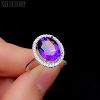 ZHHIRY Natural Amethyst Ring Genuine Solid 925 Sterling Silver For Women Real Gemstone Rings Fine Jewelry