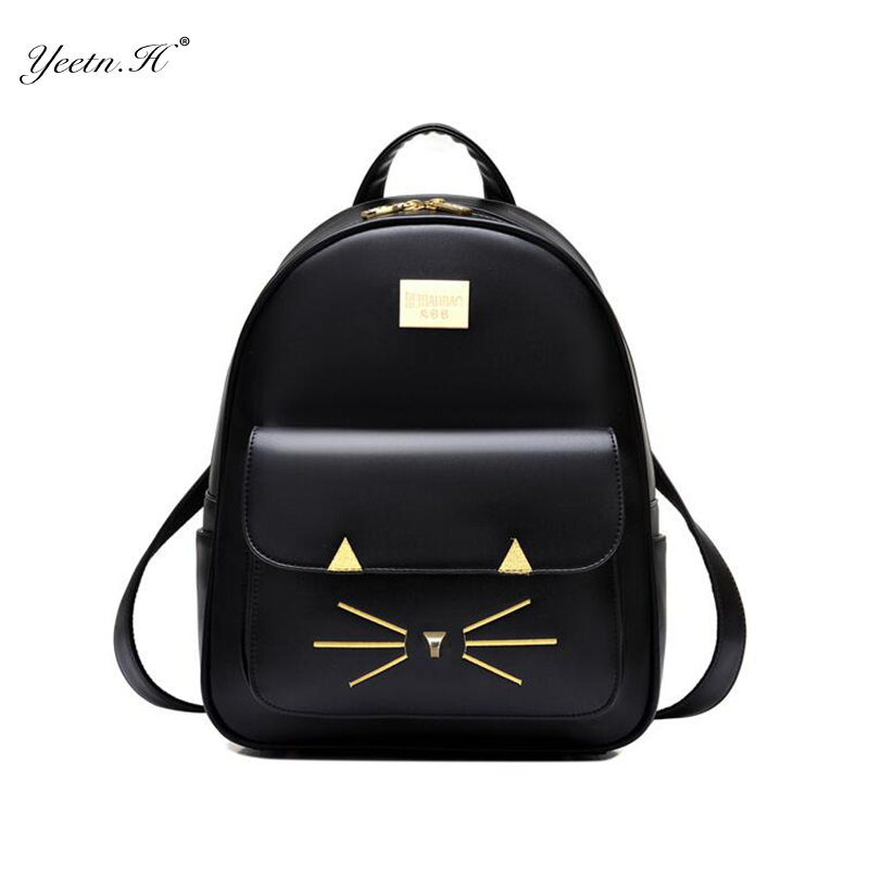 2017 New Arrival Female Fashion Girls Bags Fashion Genuin Women Backpack For Girls Cat Cartoon Ladies