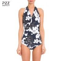 2017 קיץ הלטר Push Up ביקיני סקסי נשים בגד ים חתיכה אחת בגדי ים פרחוני הדפסת בגדי ים חוף ים לשחות ללבוש Sml XL