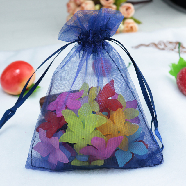 100pcs Lot Dark Blue Organza Bags 7x9cm Small Tulle Jewelry Package Gift Bag Pouches Christmas